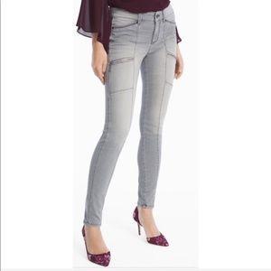 WHBM Gray Stretch Skinny Jeans Zipper Size 2